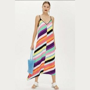 Topshop Rainbow Stripe Asymmetrical Midi Dress XS